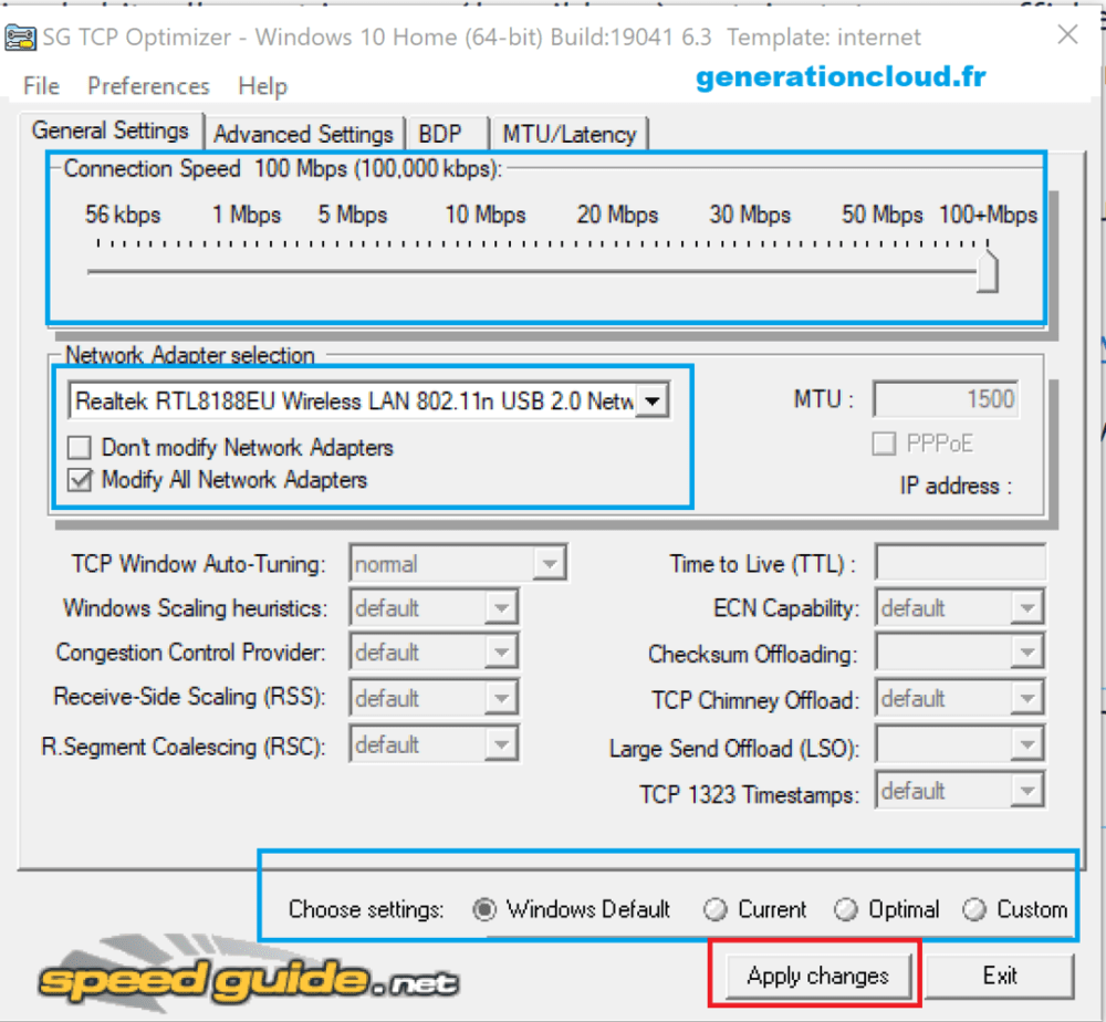 TCP Optimizer français