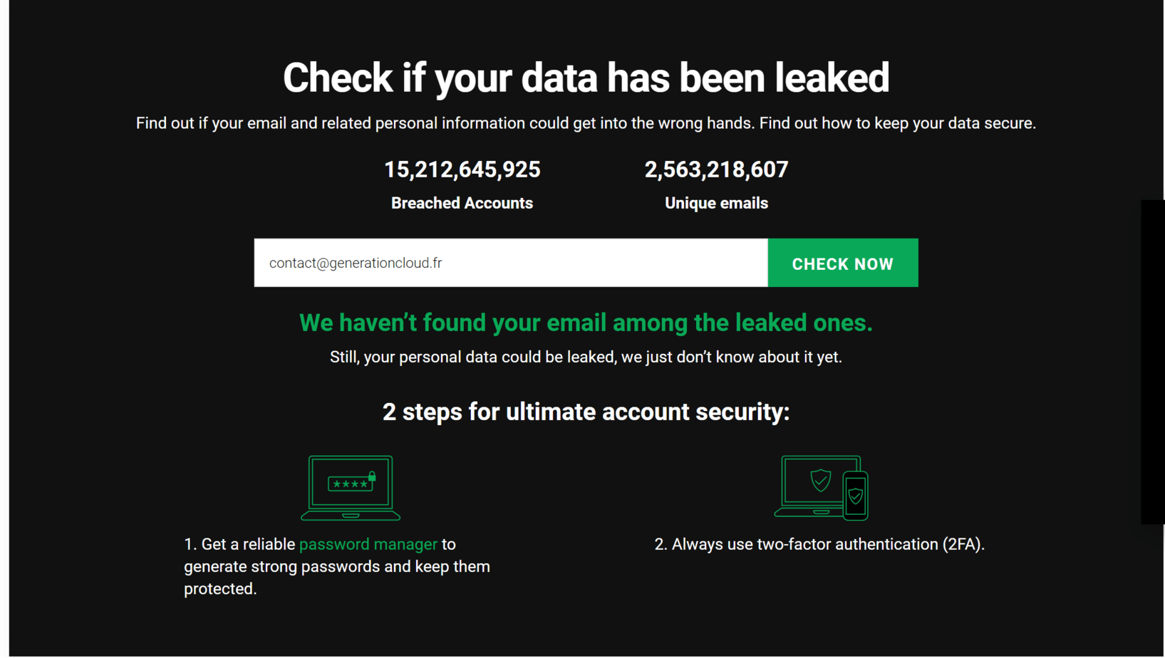Check if your data has been leaked 2